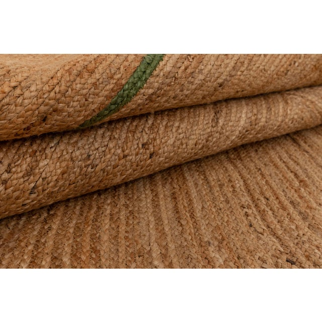 4'x6' Olive Green Scallop Jute Hand Made Rug For Sale - Image 9 of 10