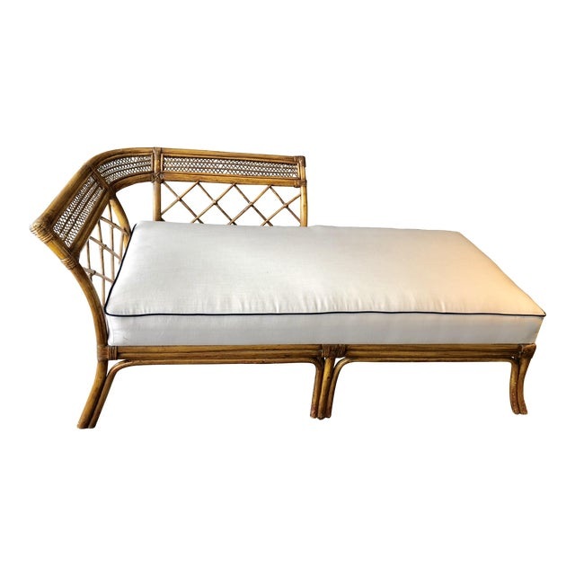 Bamboo & Linen Chaise For Sale
