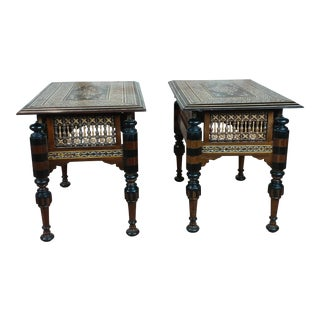 Syrian Intricate Mother of Pearl Inlaid Side Tables - A Pair For Sale