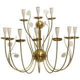 Image of Large Scale 1950's Italian Brass Candle Sconce For Sale