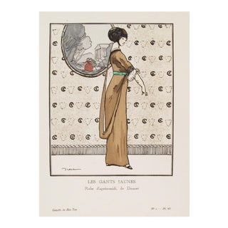 1912 Fashion Art Deco Fashion Plate, Gants Jaunes For Sale