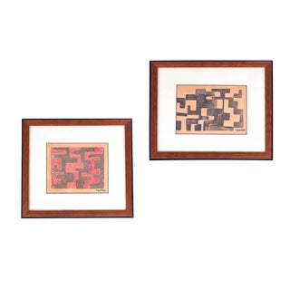 1950s Angelo Testa Signed Geometric Abstract Red & Yellow Prints - a Pair For Sale