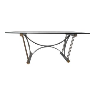 Vintage Modern Chrome & Brass Dining Table in the style of Romeo Rega For Sale
