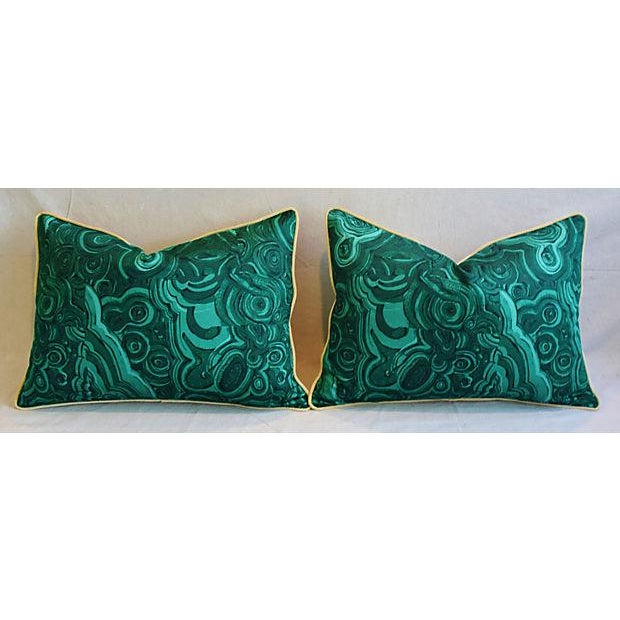 """Early 21st Century 25"""" X 18"""" Custom Tailored Jim Thompson Malachite Green Feather/Down Pillows - Pair For Sale - Image 5 of 11"""