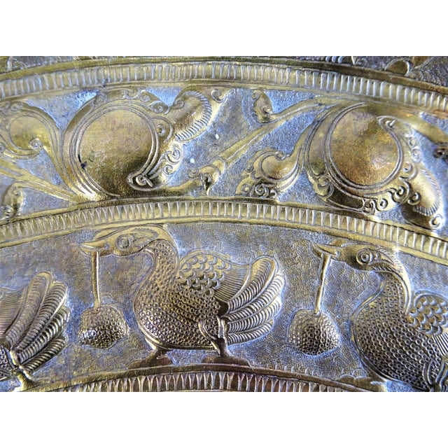 1940s Vintage Tribal Boho Brass Decorative Tray For Sale - Image 5 of 13