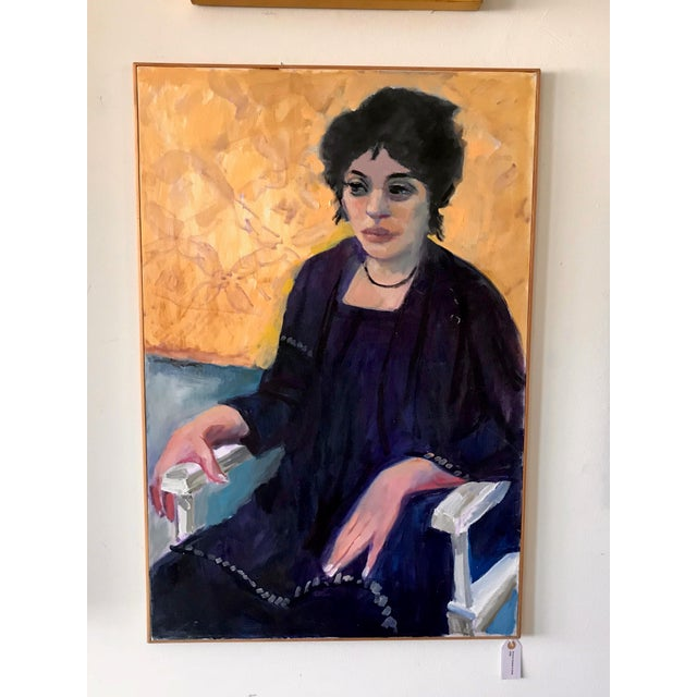 Paint 1970s Vintage Woman Seated in Chair Portrait Painting For Sale - Image 7 of 7