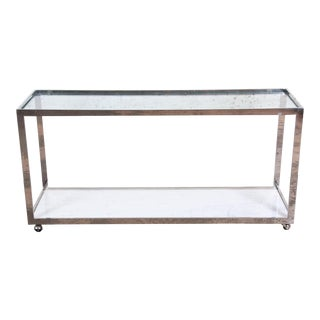 Jules Heumann for Metropolitan Mid-Century Modern Chrome, Marble, and Glass Console Table For Sale