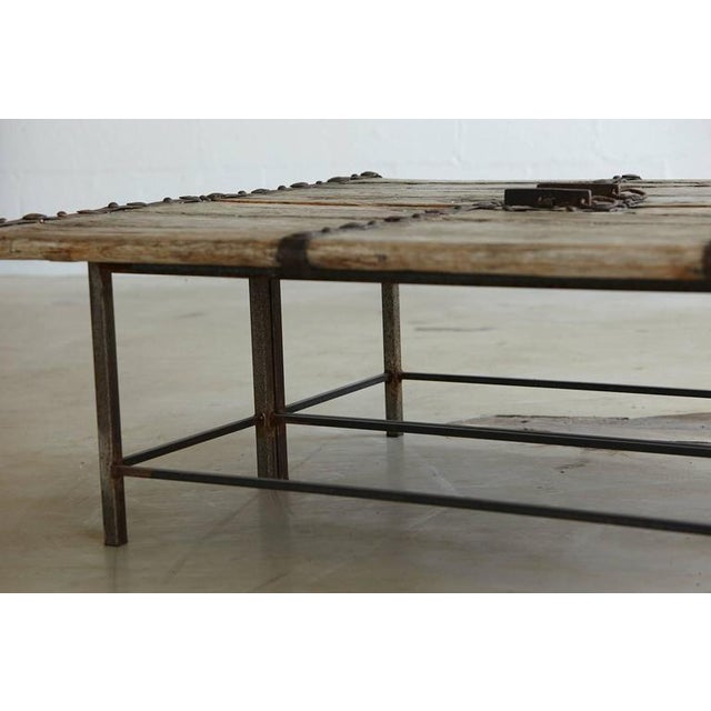 Late 19th Century Low Antique Chinese Gate Doors Coffee Table on Custom-Made Welded Metal Base For Sale - Image 5 of 10