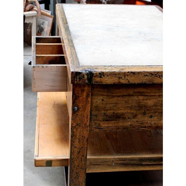 Industrial Style Marble Topped Kitchen Island - Image 3 of 5