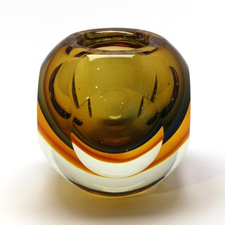 Flavio Poli Seguso Murano Golden Faceted Orb Trinket Dish Paperweight Preview