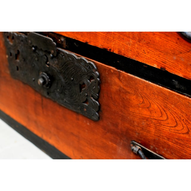 Vintage Japanese Low Tansu Chest with Bamboo Crane Hardware For Sale - Image 11 of 13