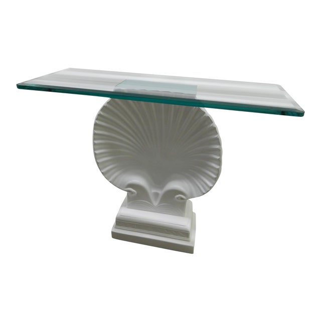 Hollywood Regency Lacquered Shell Console Table - Image 1 of 7