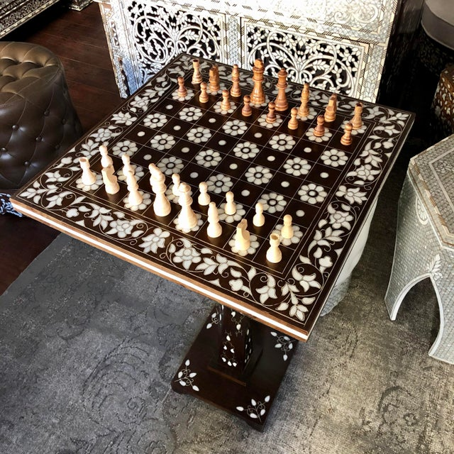 Mother of Pearl Inlay Chess Board Table For Sale - Image 4 of 10