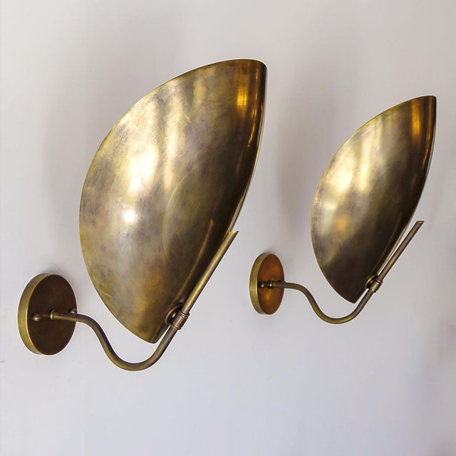 Raw Brass Beetle Wall Lights For Sale - Image 9 of 11