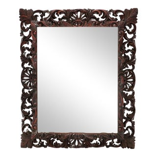 Antique 19c Continental Baroque Style Carved Oak Mirror - Hendrix Allerdyce For Sale