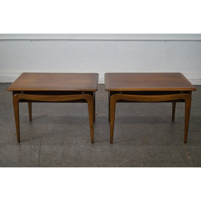 """Lane """"Perspective"""" Walnut End Tables - A Pair - Image 3 of 10"""