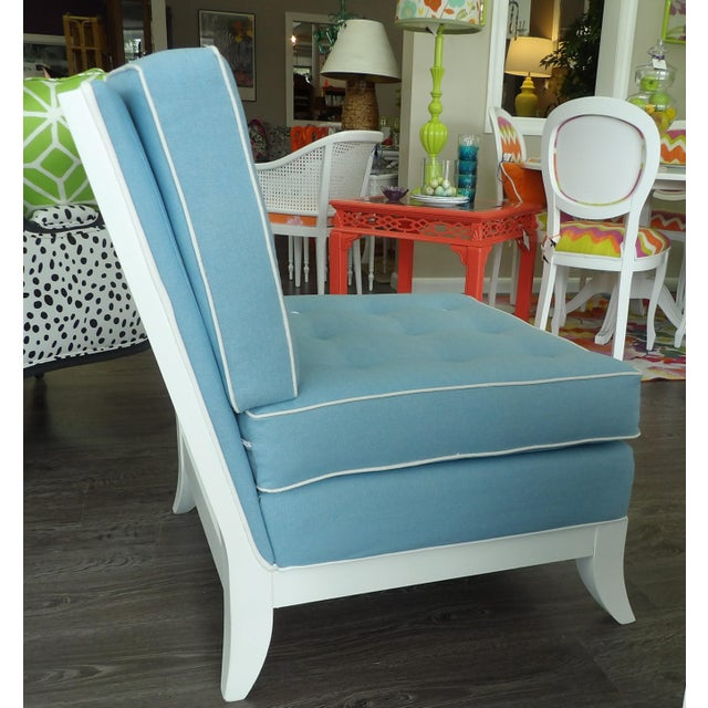 Light Blue Slipper Chairs - a Pair For Sale In West Palm - Image 6 of 7