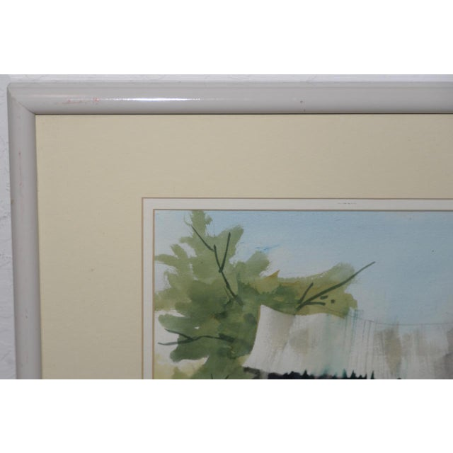 """Impressionist Jake Lee (1915-1991) Original Watercolor """"Tractor in the Barn"""" C.1990 For Sale - Image 3 of 7"""