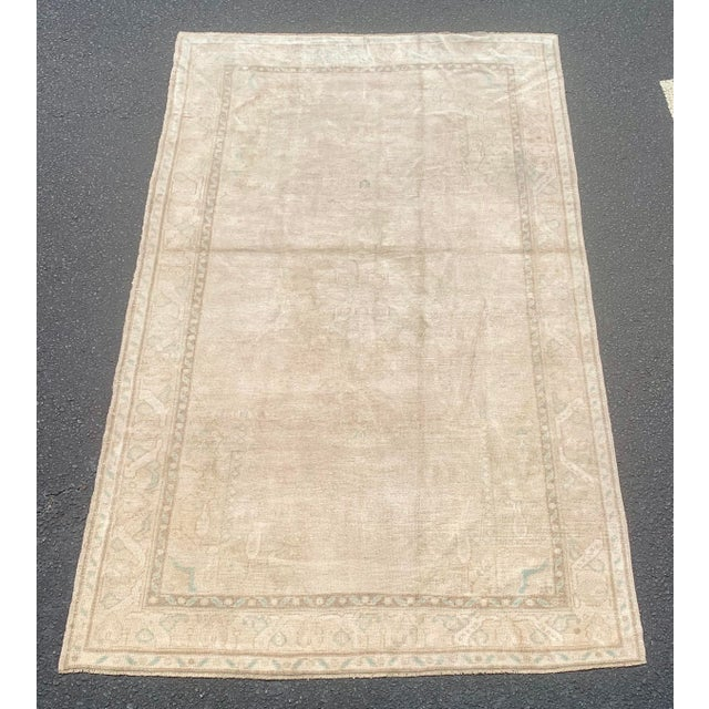 "1950's Vintage Turkish Oushak Wide Runner Rug - 5'2"" x 8'4"" For Sale - Image 13 of 13"
