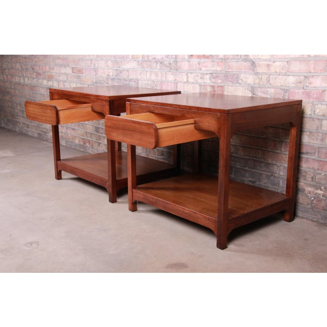 Brown Edward Wormley for Drexel Precedent Mid-Century Modern Nightstands or End Tables, Newly Refinished For Sale - Image 8 of 13