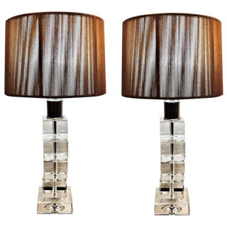 Pair of Hollywood Regency Crystal Stack Table Lamps With Custom Silk Shades