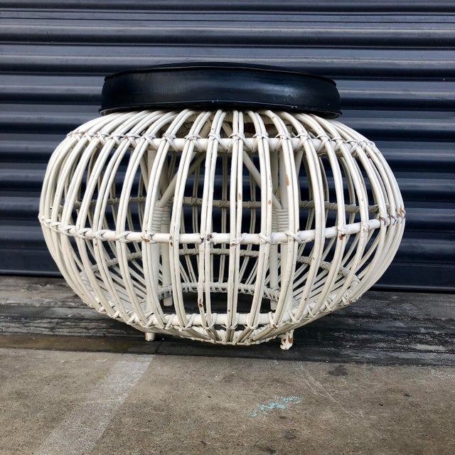 Boho Chic Vintage Albini Style Pencil Reed Rattan Ottoman For Sale - Image 3 of 13