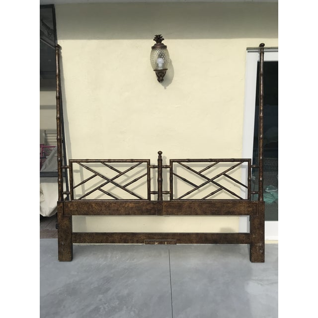 Chinese Chippendale Henredon Artefacts Collection Faux Bamboo and Tortoise Shell King Size Headboard For Sale - Image 12 of 12
