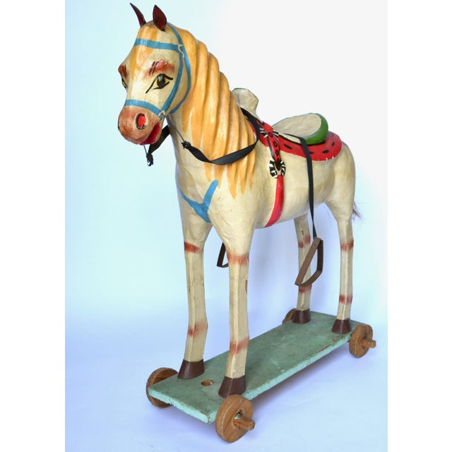 "Folk Art 1950-60s Mexican Folk Art Paper Mache Wood Pull Horse 27""h For Sale - Image 3 of 7"