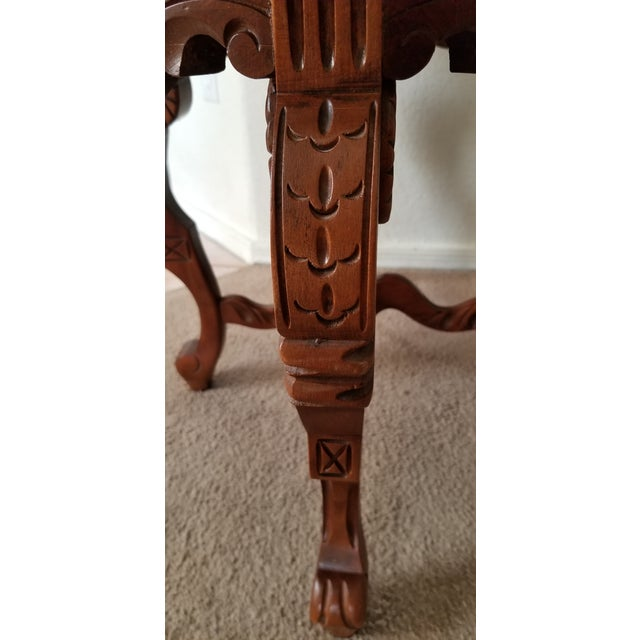 Early 20th Century 1930's Heavily Carved Wooden Table W/Glass Tray Removable Top For Sale - Image 5 of 13