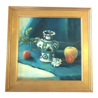 Chinoiserie Blue Still Life Oil Painting