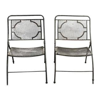 Pair of Vintage Bid Lid Folding Perforated Metal Chairs