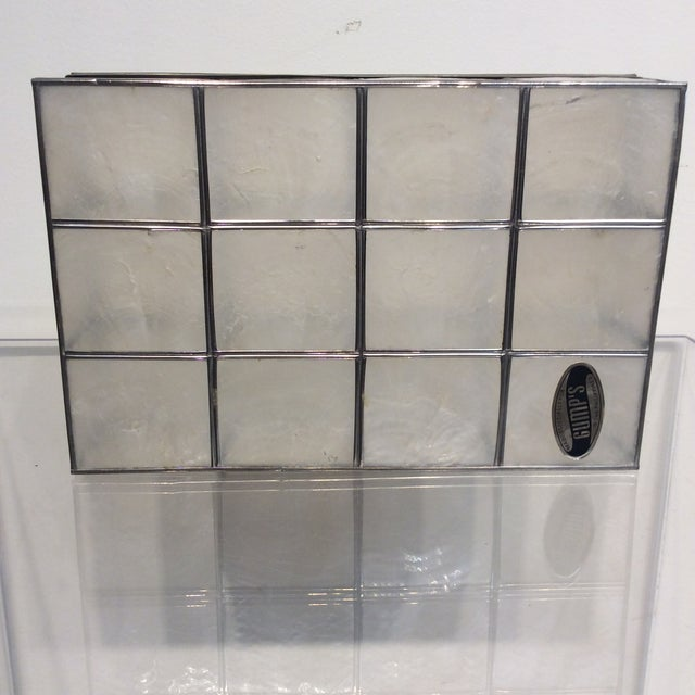 Aluminum Vintage Gump's Capiz Shell Jewelry Box For Sale - Image 7 of 10