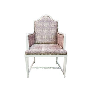 Vintage Small French Louis XVI Style White Newly Upholstered Bergere For Sale