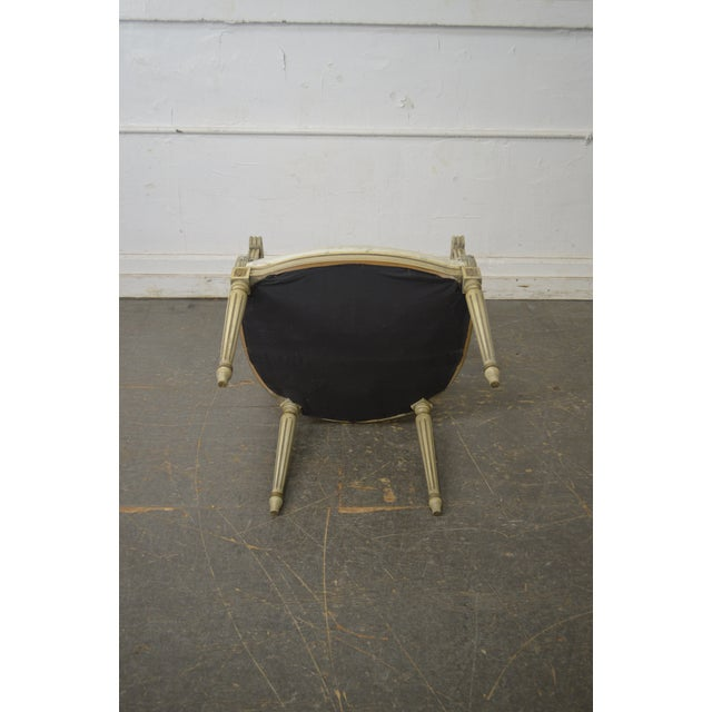 French Louis XVI Style Vintage Custom Paint Frame Fauteuil Arm Chair For Sale - Image 12 of 13
