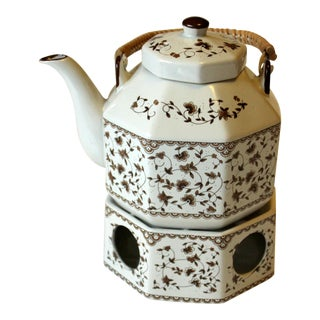 1970s Ceramic Teapot With Tea Warmer For Sale