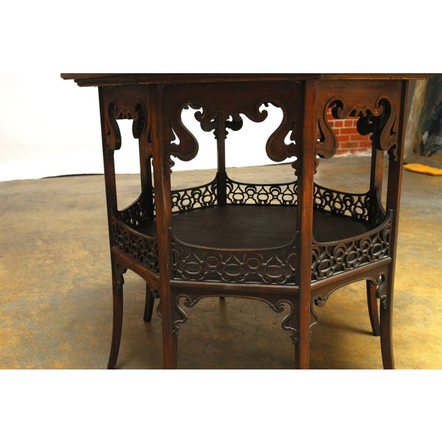 Middle Eastern Octagonal Relief Carved Top Table - Image 3 of 6