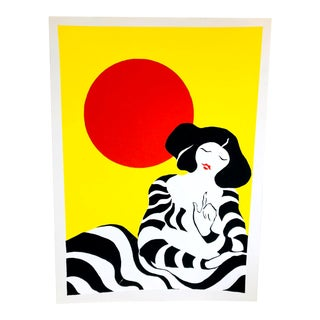 Vintage Lithograph Signed / Numbered Block Print of Abstract Geisha & Sun For Sale