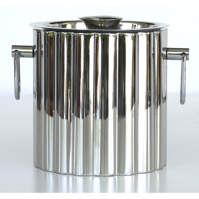 Metal Vintage Stainless Steel Art Deco Style Ice Bucket For Sale - Image 7 of 7