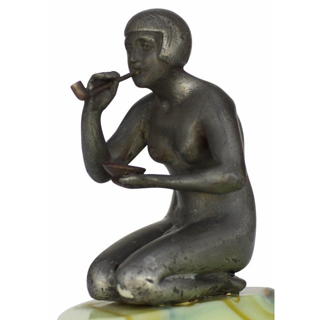 1930s Nude Art Deco Smoking Flapper Slag Glass Ashtray by Houzex - 50th Anniversary Sale For Sale - Image 5 of 7
