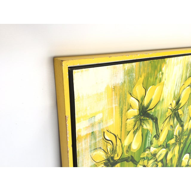 Bold statement making oil painting by C. Petterson. Painted on canvas with bright colorful green and yellow hues. Minor...