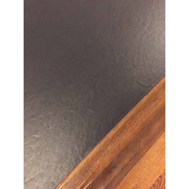 Ethan Allen Ethan Allen Mid-Century Traditional Slate Top Pecan End Table For Sale - Image 4 of 9
