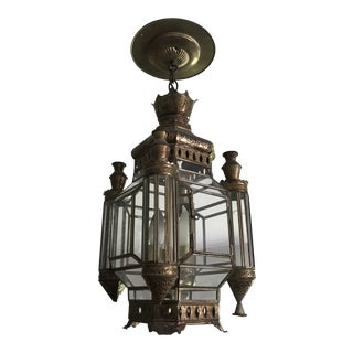 Brass and Glass Hanging Light Fixture For Sale