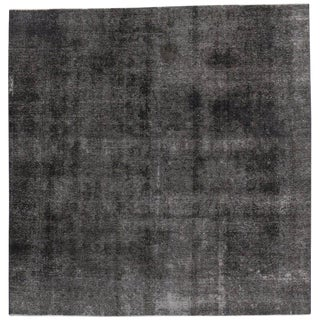 """20th Century Turkish Charcoal Distressed Rug With Industrial Luxe Style - 9' X 9'2"""" For Sale"""