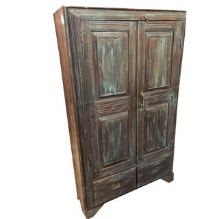 1920s Rustic Distressed Blue Indian Cabinet Teak Wood Indian Armoire For Sale