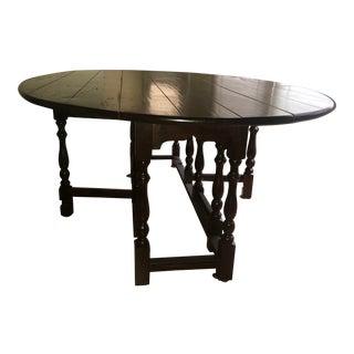 Vintage Drop-Leaf Wood Table For Sale