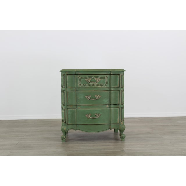 Pair of French Provincial Nightstands, Mid Century Nightstands, Green Nightstand, Shabby Chic Nightstands For Sale - Image 4 of 11