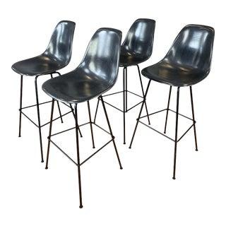 Set of 4 Eames for Herman Miller Dark Grey Molded Fiberglass Bar Stools For Sale