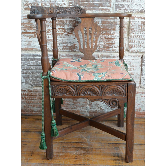 Rustic 19th Century Carved Elm Corner Chair For Sale - Image 3 of 13