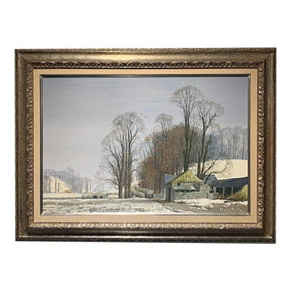 """Original Oil on Canvas """"Snow at Woodend Farm"""" by Michael Reilly, England For Sale"""