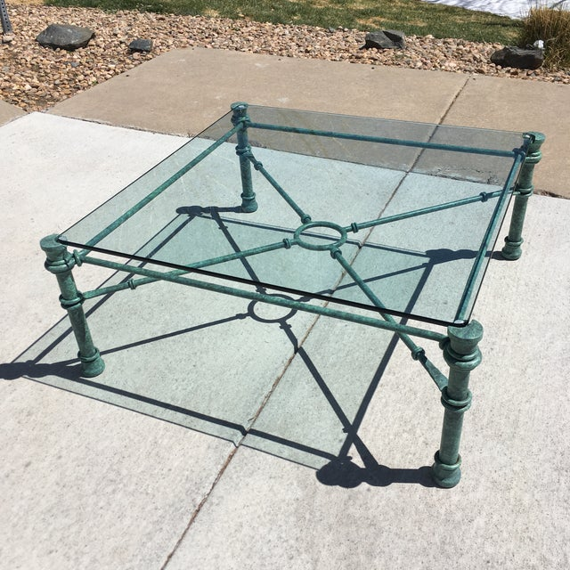 Metal Mid-Century Modern Wrought Iron Coffee Table After Giacometti For Sale - Image 7 of 12